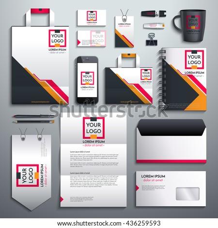 Realistic Vector Classic Corporate Identity Design Stock Vector ...