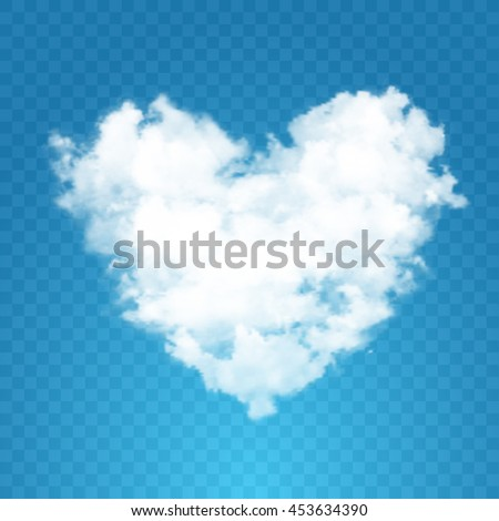 Realistic vector cloud heart. Blue transparent background. - stock vector