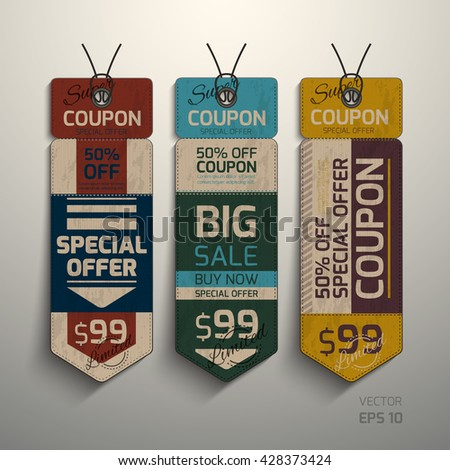 Realistic vector. Collection of tags, special offer, sale. Tear-off coupon. Design in vintage style - stock vector