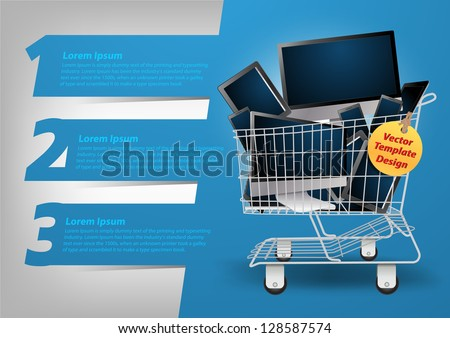 Realistic vector computer concept in the shopping cart, With Modern Design template / infographics / numbered banners, Colorful presentations with letters numbers - stock vector