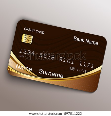 Realistic vector credit card. Money, payment symbol