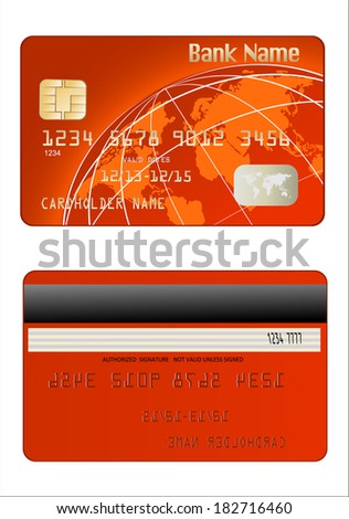 Realistic vector Credit Card two sides - stock vector