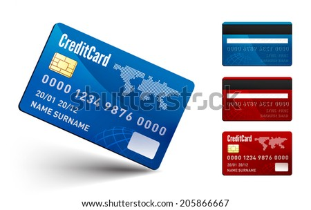 Realistic vector Credit Card two sides on white background