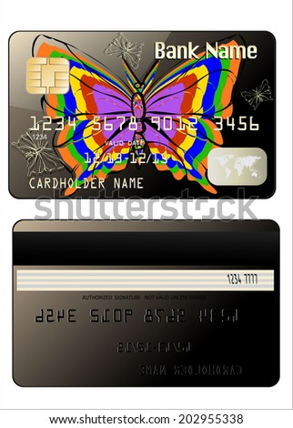 Realistic vector Credit Card with butterflies two sides