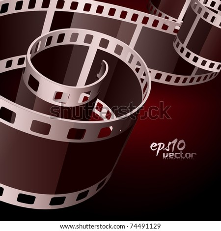 realistic vector 3d film reel - stock vector