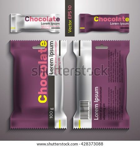 Realistic vector design chocolate packaging, packaging template. Candy and a large pack of sweets. Purple packing