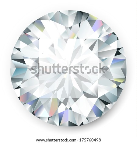 Realistic vector diamond isolated on white background - stock vector