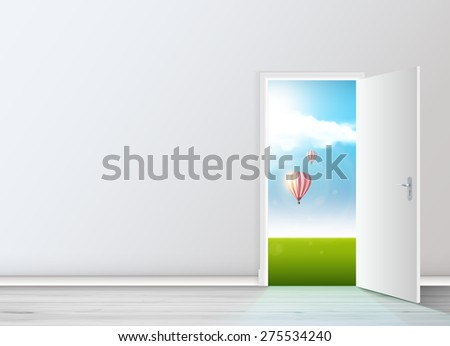 Realistic Vector Empty room with opened door.  - stock vector