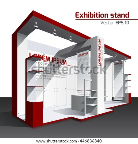 Realistic vector. Exhibition stand design red pattern. Poster, banner - stock vector
