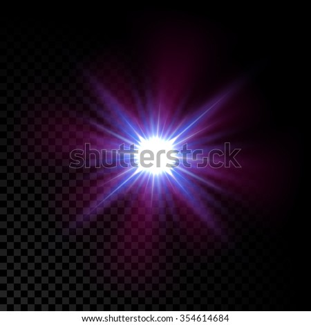 Realistic vector glowing lens flare light effect with  sparkles bursts on transparent background. - stock vector