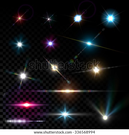 Realistic vector glowing lens flare light effect with stars and sparkles bursts on transparent background. - stock vector