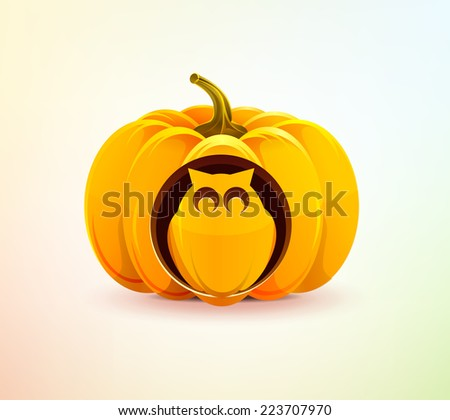 Realistic vector Halloween pumpkin with a carved owl of it. Owl carved on a pumpkin for Halloween. Happy Halloween. Happy autumn. Use for brochures, printed materials, banner, greeting, card - stock vector