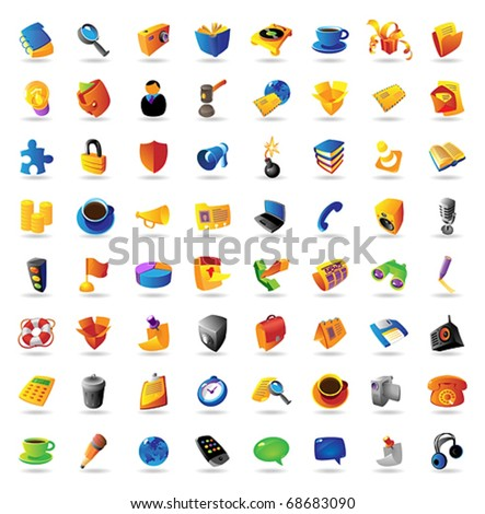 Realistic vector icons set on white background. - stock vector