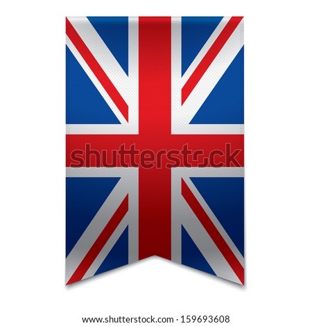 Realistic vector illustration of a ribbon banner with the british flag. Could be used for travel or tourism purpose to the country united kingdom in europe. - stock vector