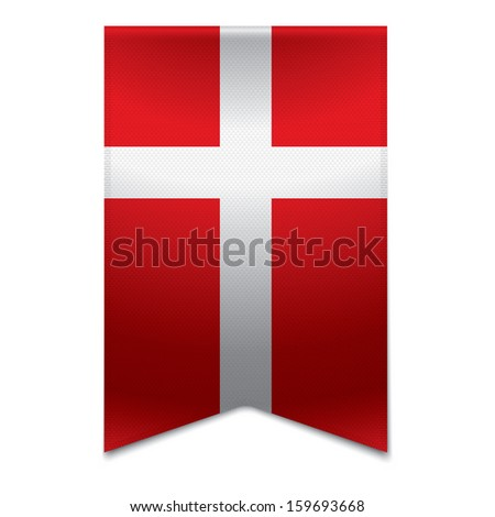 Realistic vector illustration of a ribbon banner with the danish flag. Could be used for travel or tourism purpose to the country denmark in europe. - stock vector