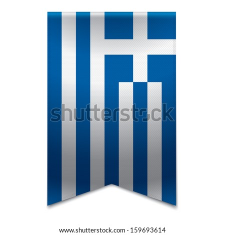 Realistic vector illustration of a ribbon banner with the greek flag. Could be used for travel or tourism purpose to the country greece in europe. - stock vector