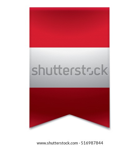 Realistic vector illustration of a ribbon banner with the peruvian flag. Could be used for travel or tourism purpose to Peru.