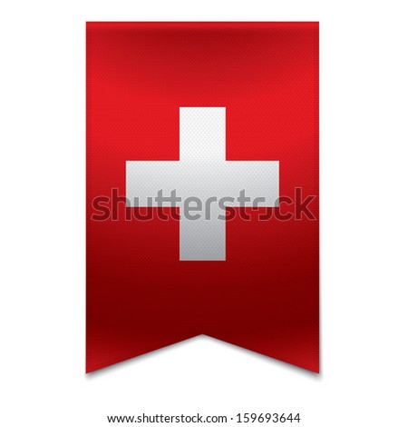 Realistic vector illustration of a ribbon banner with the swiss flag. Could be used for travel or tourism purpose to the country switzerland in europe. - stock vector