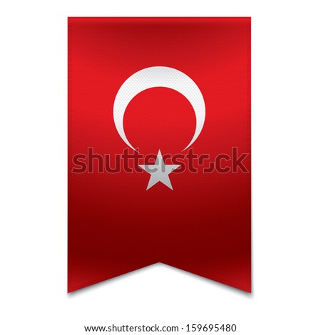 Realistic vector illustration of a ribbon banner with the turkish flag. Could be used for travel or tourism purpose to the country turkey in europe. - stock vector