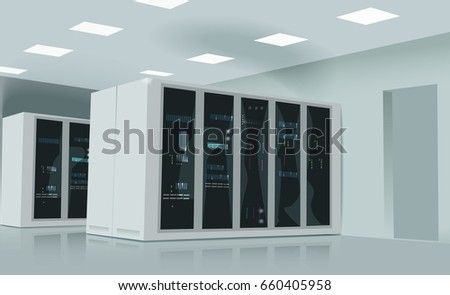 Realistic vector illustration of a server room. Realistic