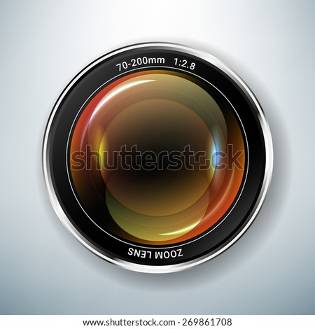 Realistic vector illustration of camera lens - stock vector