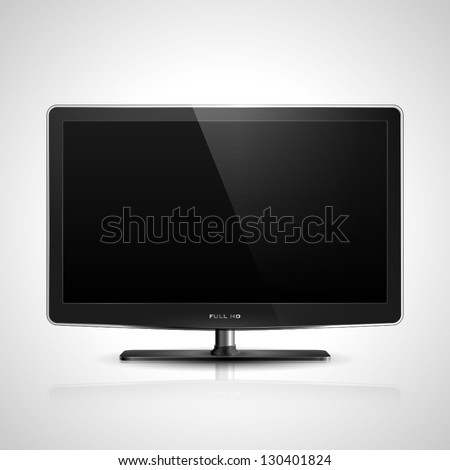 Realistic vector illustration of high definition TV screen. - stock vector