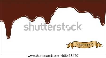 Realistic vector illustration of melted chocolate dripping on white background