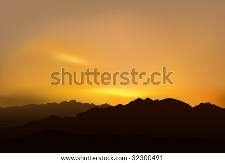 Realistic vector illustration of mountains over picturesque sunset. - stock vector