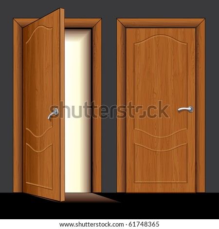 Realistic vector Illustration of opened and closed classic wooden door - only simply colors used - stock vector