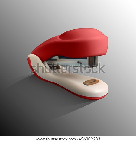 Realistic vector illustration of red stapler. Office appliance.