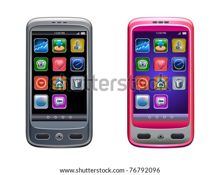 Realistic vector illustration of smartphone with icons - stock vector