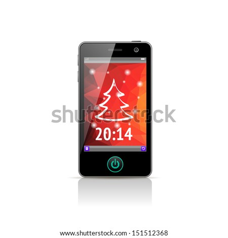 Realistic vector illustration of smartphone with New Year 2014 isolated on white. - stock vector
