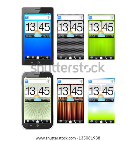 Realistic vector illustration of two different modern black smartphones with 6 different colorful screen. eps10 - stock vector
