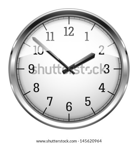 Realistic vector illustration of wall clock.  - stock vector
