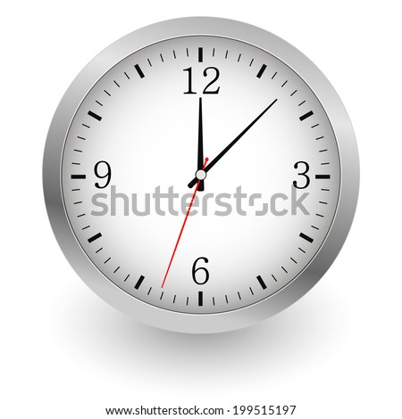 Realistic vector illustration of wall clock. EPS10