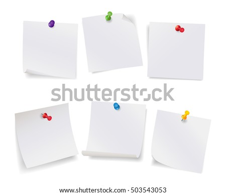 Realistic vector illustration, set of white note papers with different color pushpins, isolated on white.