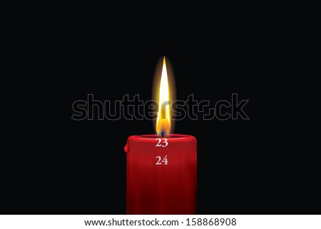 Realistic vector illustraton of a lit red christmas advent candle with the 23rd of december showing. Decorative and beautiful art where you can feel the heat of the glowing flame.