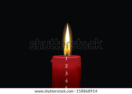 Realistic vector illustraton of a lit red christmas advent candle with the 1st of december showing. Decorative and beautiful art where you can feel the heat of the glowing flame. - stock vector