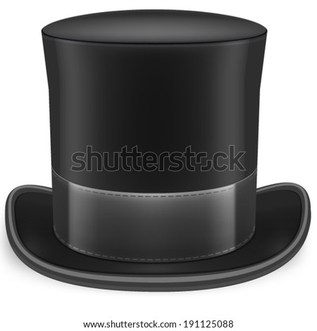 Realistic vector image of a black topper. Black hat. - stock vector