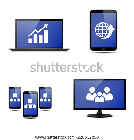 Realistic vector laptop, tablet computer, monitor and mobile phone template - stock vector