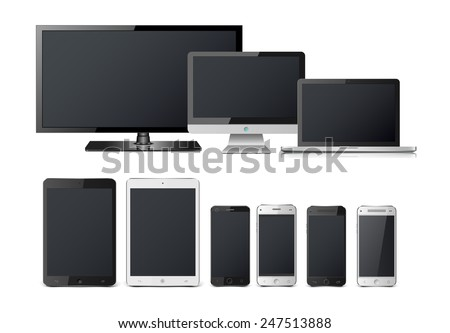Realistic vector laptop, tablet computer, monitor and mobile phone template. - stock vector
