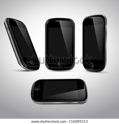 Realistic vector mobile phone in different positions template