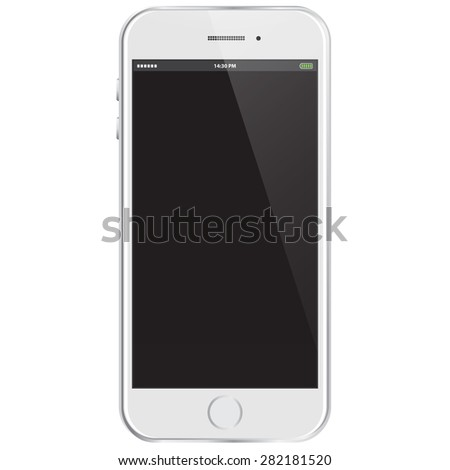 Realistic Vector Mobile Phone - White - stock vector