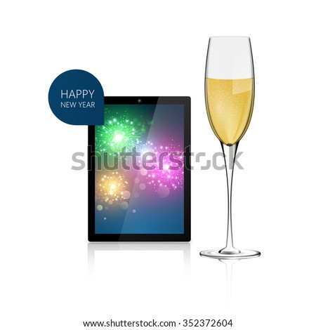 Realistic Vector of Tablet with fireworks background with Champagne glass. Happy New Year! - stock vector