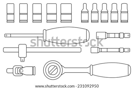 Realistic vector ratchet and socket icon set. Mechanic service kit. Contour lines clip art illustration isolated on white - stock vector