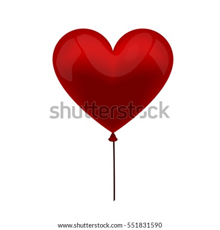 realistic vector red  balloon heart on a white Background