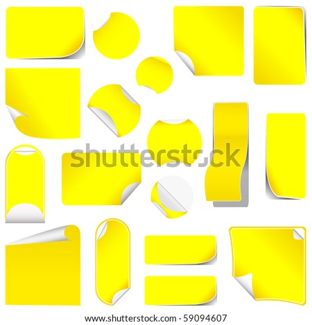 realistic vector red stickers with peeling corners - stock vector