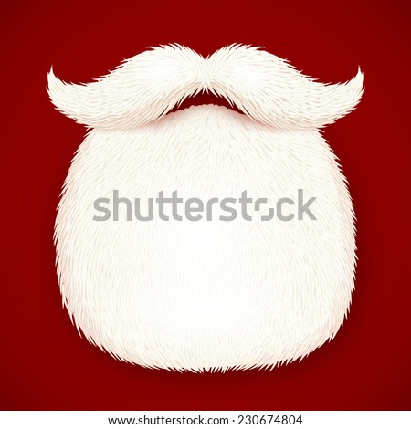Realistic vector Santa's beard isolated on red background - stock vector