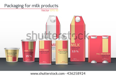 Realistic vector. Set & craft for dairy products. Template for design. Design packaging for dairy products. Red color - stock vector