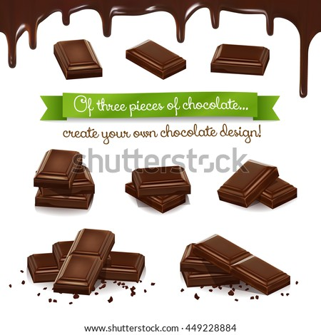 Realistic vector set of chocolate pieces in different angles. Of the top three pieces can create different versions of images, as in the constructor (examples below). Melted chocolate seamless. - stock vector